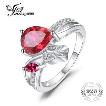 JewelryPalace Flower Rose 2.6ct Created Red Ruby Love Promise Ring 925 Sterling Silver Hot New Stylish Vintage Sexy Women Ring