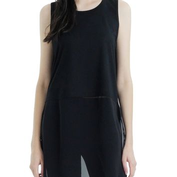 O2 collection Crop Tank / Top Extender with sheer bottom slit