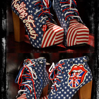 ROLLING STONES block heels boots lace up US flag shoes logo customised Punk Metal Rocker Rock 70s