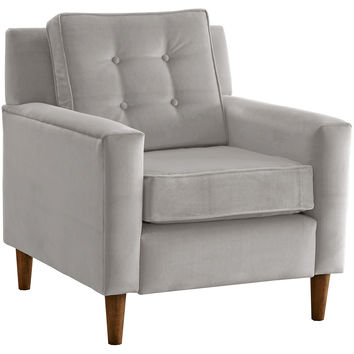Winston Velvet Accent Chair, Ash, Club Chairs
