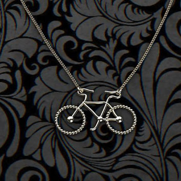 retro necklace-bicycle necklace - trend necklace - unique gift - simple necklace - personalized necklace - circle necklace