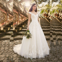 2016 New Arrival Design Lace Wedding Dress Cap Sleeve Sweep train wedding dress