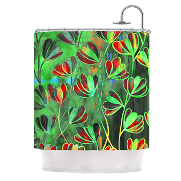 "Ebi Emporium ""Efflorescence - Red Green"" Lime Crimson Shower Curtain"