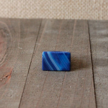 AGATE RING/// Size 6.5 Blue Agate Square Stone Ring/ Gemstone Ring/ Unique Natural Stone Ring/ Gemstone Carved Ring/ Bohemian Statement