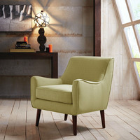 Modern Mid Century Style Green Fabric Upholstered Arm Chair With Wood Legs