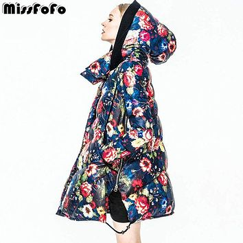 MissFoFo Women Down Coats CLJ Jackets Fashion Female Parka Secret Garden Oil Painting Flower Long Outwear Women's Down Jackets
