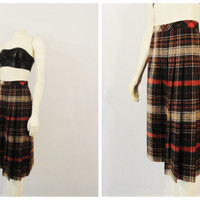 Vintage Skirt 60s 70s Mad Men Era Brown Coral Red Beige Ivory Green Plaid Union Made Size 7/8 Modern Small