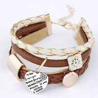 F&U New Fashion Lady Women's Stylish Jewelry Brown Leather Gold Metal Heart Bracelet