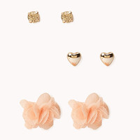 Rhinestone & Heart Earring Set
