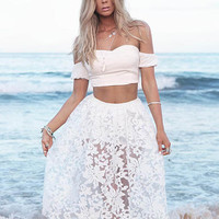White Strapless  Crop Tank Top + Lace Midi Skirt