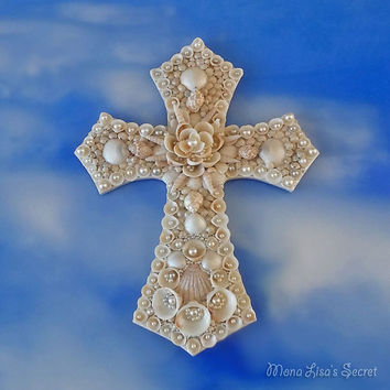 Seashell Cross, Seashell Wall Art, Coastal Decor, Shell Wall Decor, Religious Christian Gift, Baptism New Baby Gift, First Communion Gift