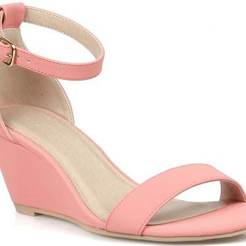 Single Band  Coral Wedge Sandals