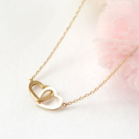Two Open Heart Necklace in gold