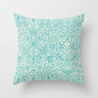 Detailed Floral Pattern in Teal and Cream Throw Pillow by Micklyn