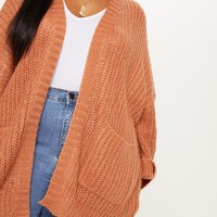 Plus Rust Oversized Pocket Detail Cardigan