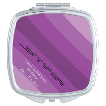 Personalized Bridesmaid Compact Mirror Purple