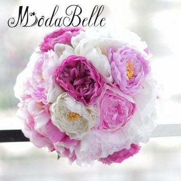 modabelle New Ivory Pink Purple Silk Flowers Peony Bridal Bouquets Artificial Flowers Brides Wedding Bouquet Acessorios Noivas