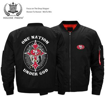 USA Size 49ers Thick Bomber Jacket Men's San Francisco Streetwear Flight MA-1 Jacket Coat Customized Logo Design