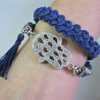 Dark Blue Two-Row Bracelet