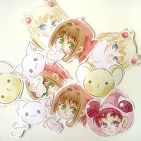 Magical girls stickers,sakura stickers, sailor moon stickers, doremi stickers