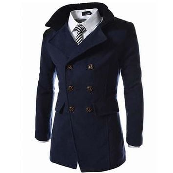 Men's long Trench wool Coats Jackets Double Breasted