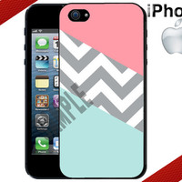 iPhone Case  Mint and Coral  Chevron   iPhone 4 by CrazianDesigns