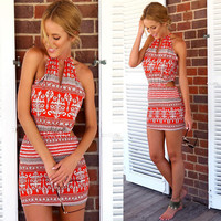 Sleeveless Geometric Dress