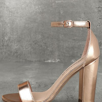 Raylen Rose Gold Ankle Strap Heels