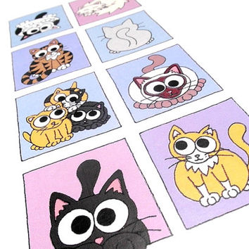 Cats Card (cool colours) - Blank