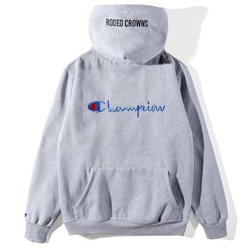 Champion 2018 autumn and winter new plus velvet embroidered back letter hoodie Grey