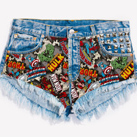RWDZ x MARVEL Avengers Studded Shorts