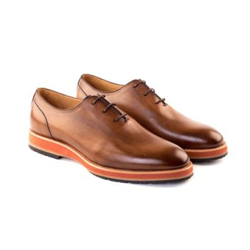 Chestnut Calf Leather Wholecut Oxford by Lussoti