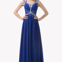 Blue V-Neck Emoire Waist Beaded Cap Sleeve Chiffon Maxi Dress