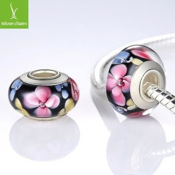 NEW 925 Sterling Silver Flower Murano Glass Beads Fit Pandora Bracelet Bangles Charms
