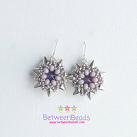 Star Silver Lilac Earrings, Spike Punk Earrings, Violet Light Purple Dangle Drop Earrings, Beadwork, Bridal Earrings, Lightweigted Jewellery