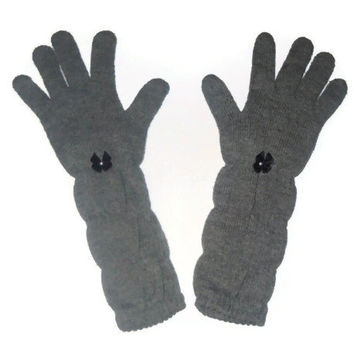 Long Gray Chic Winter Gloves Womens Winter Wear Bow Accent