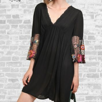 Embroidered Bell Sleeve Dress - Black