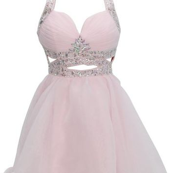 Dressystar Short Cut Out Beaded Sweetheart Homecoming Prom Party Dress Backless
