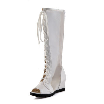 European sexy style peep toe summer cool knee high boots fashion cosplay lace-up mesh zipper med with women's riding boots