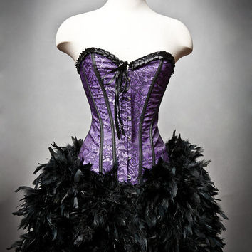 Custom Size Purple and Black lace Burlesque Feather Corset Dress
