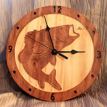 Fish Clock | Wood Clock | Wall Clock | Wooden Wall Clock | Animal Clock | Nature Clock | Wildlife Clock | Fish Wall Clock | Bass Clock