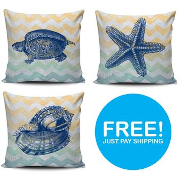 OBX Lyfe Sea Life Pillows Covers - Free + Shipping & Handling Offer - $14.99 Value Per Pillow