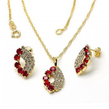 Gold Layered 10.09.0034 Necklace and Earring, with Garnet and White Cubic Zirconia, Polished Finish, Golden Tone