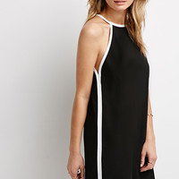 Contrast-Trimmed Halter Dress
