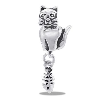 LMFYW3 DaVinci Beads Silver Cat With Fish Bones Jewelry