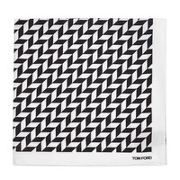 Men's Geometric-Print Silk Pocket Square, Black/White - Tom Ford - Black/White
