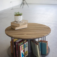 Round Coffee Table with Metal Spindles