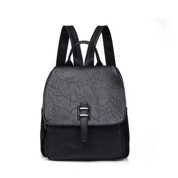 School Backpack trendy 3157 Casual Women Backpacks PU Stitching Nylon School Bags for Teenager Girls Practical Functional Travel Solid Female Backpacks AT_54_4