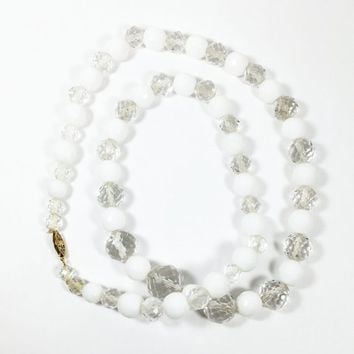 White & Clear Bead Necklace Vintage 1950s 1960s Style Graduated Faceted Crystal Round Disco Ball Beads Gold Oval Box Clasp Swarokski Retro