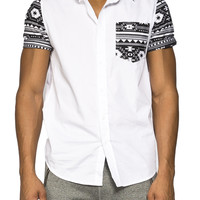 Guys Navaho Print Sleeve And Pocket Shirt